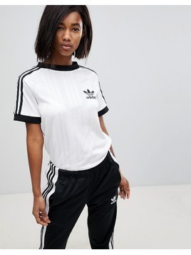 adidas Originals Three Stripe Polyknit T-Shirt In White - White