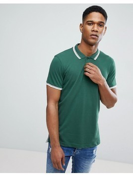 Brave Soul Pique Tipped polo - Green