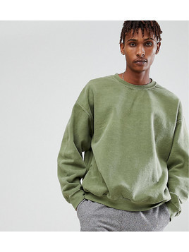 Reclaimed Vintage Inspired Oversized Sweatshirt In Khaki Overdye - Green