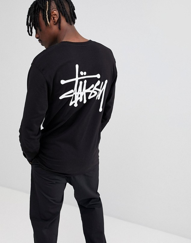 Stussy Long Sleeve T-Shirt With Back Logo In Black - Black