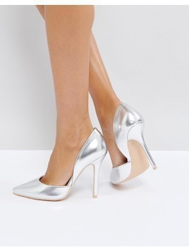 Glamorous Silver Heeled Court Shoes - Silver