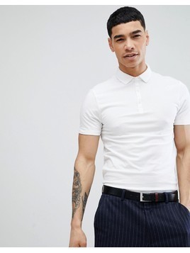 River Island Muscle Fit Jersey Polo In White - White