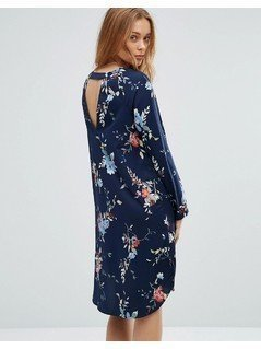 Vero Moda Floral Shift Dress With Back Cut Out - Navy