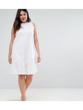 ASOS CURVE Dropped Hem Sleeveless Mini Smock Dress - White