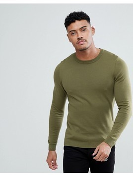 ASOS Muscle Fit Jumper In Khaki - Green