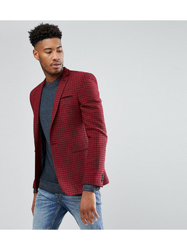 ASOS TALL Super Skinny Blazer In Red Wool Mix Mini Check - Red