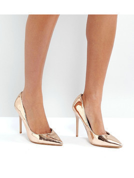 Lost Ink True Gold Sweetheart Cut Out Court Shoes - Gold