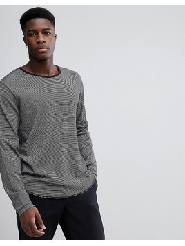 Weekday Boule Striped Long Sleeve T-shirt - Black