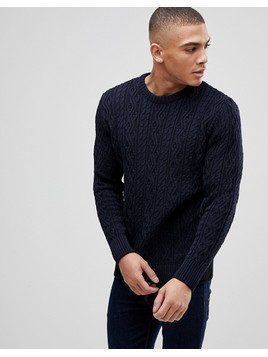 Kronstadt Cable Knit Jumper - Navy