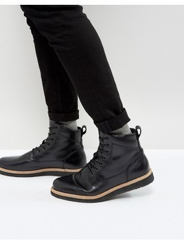 Zign Leather Wedge Lace Up Boots - Black