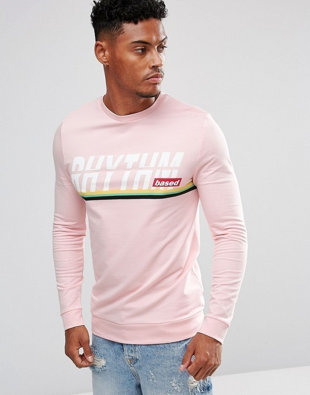 ASOS Muscle Sweatshirt With Text & Stripe Print - Pink