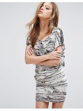 Religion Wrap Front Dress In Marble Print - White