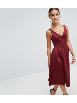 ASOS PETITE High Apex Seamed Scuba Midi Dress - Red