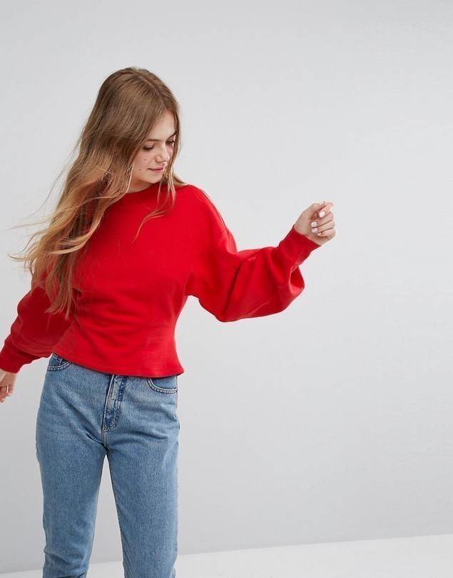Monki Fitted Balloon Sleeve Sweat - Red