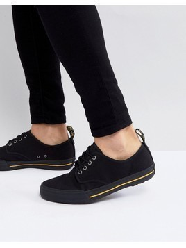 Dr Martens Pressler Canvas Plimsolls In Black - Black