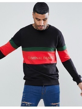 Criminal Damage Muscle Logo Sweat In Black - Black