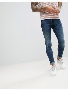 ASOS Super Skinny Jeans In Vintage Mid Wash Blue - Black