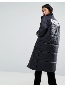 Puffa Oversized Longline Padded Jacket With Back Logo - Black