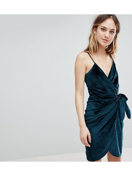 Parisian Tall Velvet Cami Wrap Dress With Tie - Green