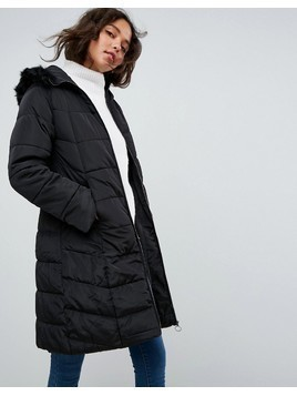ASOS Longline Puffer Coat with Faux Fur Trim Hood - Black