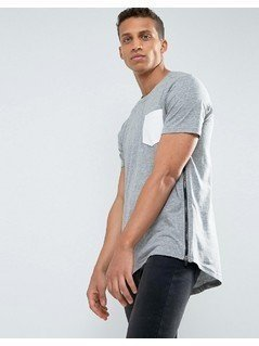 Loyalty and Faith Longline Pocket T-Shirt with Zip Detail - Grey
