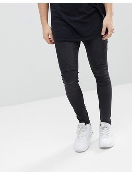 Religion Drop Crotch Jean With Biker Knee Detail And Zip Ankle - Black