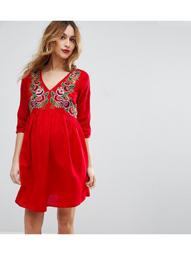 ASOS Maternity Dress with Embroidery - Red