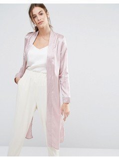 Missguided Premium Stripe Duster - Pink