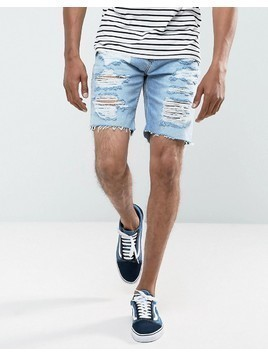 Pull&Bear Denim Shorts With Rips In Bleach Wash - Blue