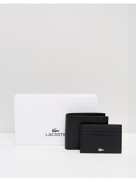 Lacoste Logo Leather Wallet and Card Holder Gift Set in Black - Black