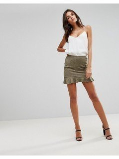 Ax Paris Khaki Suede Frill Hem Mini Skirt - Green