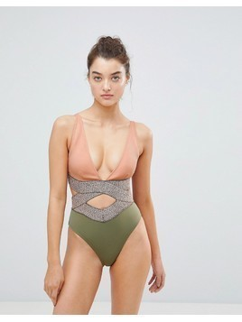 River Island Saddle Stitch Cut Out Detail Swimsuit - Multi