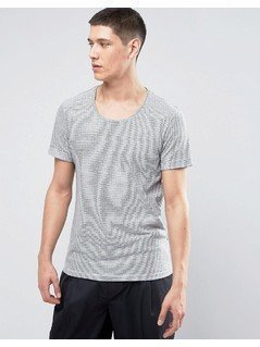 Casual Friday Linen Mix T-Shirt In Stripe - White