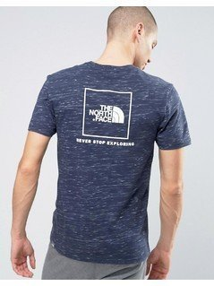 The North Face Red Box T-Shirt Back Logo in Navy Marl - Navy