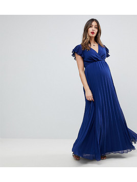 ASOS Maternity Pleated Maxi Dress with Flutter Sleeve - Navy
