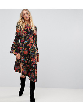 Vero Moda Tall Floral Midi Dress With Asymmetric Hem - Multi