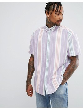 ASOS Oversized Vintage Oxford Stripe Shirt - Pink