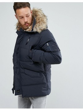 Schott Snork Quilted Parka Hooded Detachable Faux Fur Trim in Navy - Navy