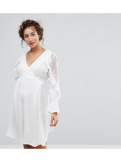 Queen Bee Maternity Ruffle Sleeve Dress With Lace - White
