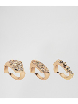 ASOS Pack of 3 Rough Hammered Rings - Gold