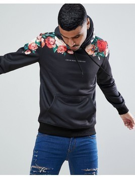 Criminal Damage Muscle Floral Hoodie - Black