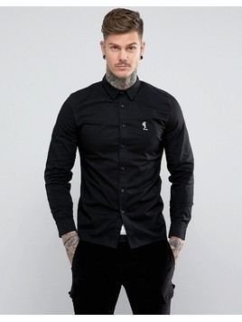 Religion Slim Fit Shirt With Stretch - Black