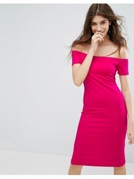 Bershka Off The Shoulder Bodycon Midi Dress - Pink