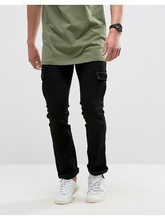 Loyalty and Faith Tapered Cargo Pants Trousers in Black - Black