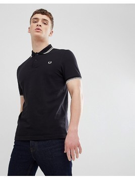 Fred Perry Twin Tipped Polo Shirt In Black - Black