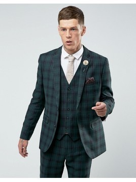 Harry Brown Skinny Tartan Suit Jacket - Green