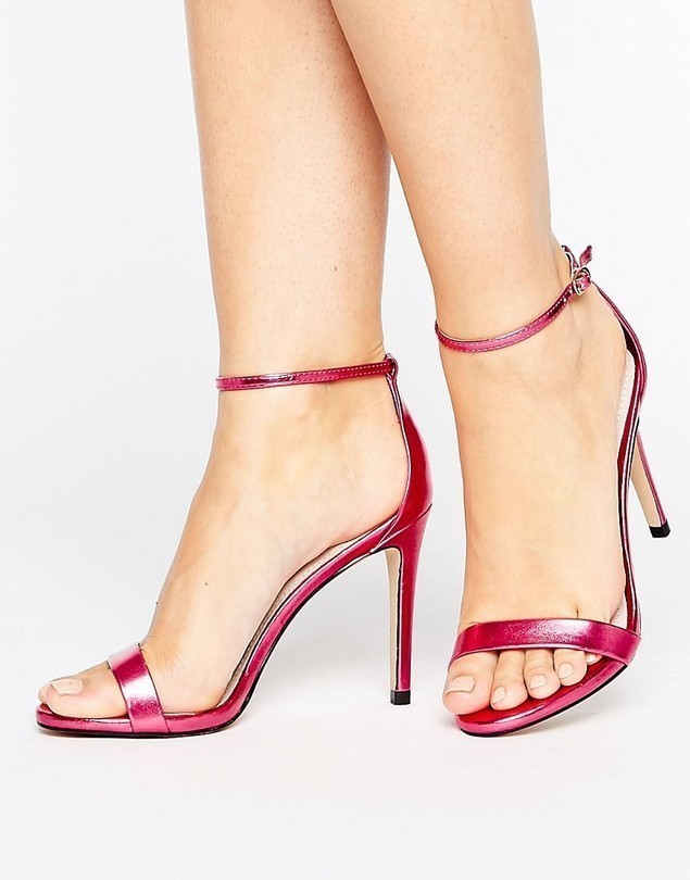 Steve Madden Stecy Metallic Pink Barely There Heeled Sandals - Pink