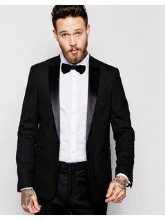 ASOS Slim Tuxedo Suit Jacket In Black - Black