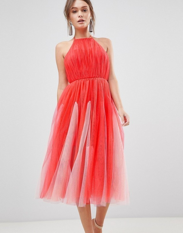 ASOS DESIGN halter tulle godet midi dress - Pink