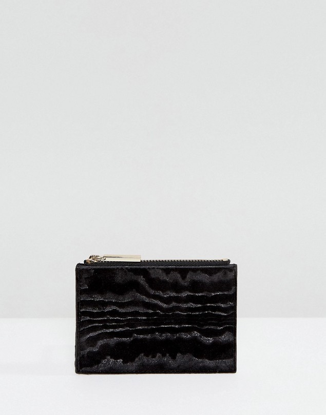 Whistles Woodcut Velvet Coin Purse - Black